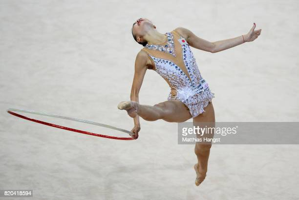 Kaho Minagawa of Japan competes during the Rhythmic Gymnastics Women's Individual Hoop Qualification of The World Games at Centennial Hall on July 21...