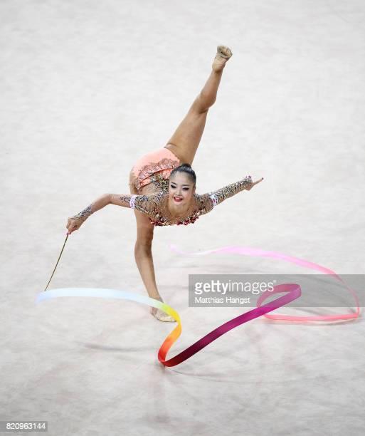 Kaho Minagawa of Japan competes during the Rhythmic Gymnastics Women's Individual Ribbon Qualification of The World Games at Centennial Hall on July...