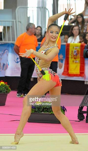 Kaho Minagawa of Japan competes in the Clubs on day three of the Rhythmic Gymnastics World Cup Guadalajara at Pabellon Multiusos Guadalajara on June...
