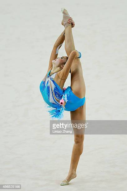 Kaho Minagawa of Japan competes in the Gymnastics Rhythmic Individual AllAround Final during day thirteen of the 2014 Asian Games at at Namdong...