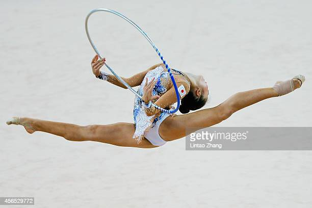 Kaho Minagawa of Japan competes in the Gymnastics Rhythmic Individual AllAround Final during day thirteen of the 2014 Asian Games at at Namdong...