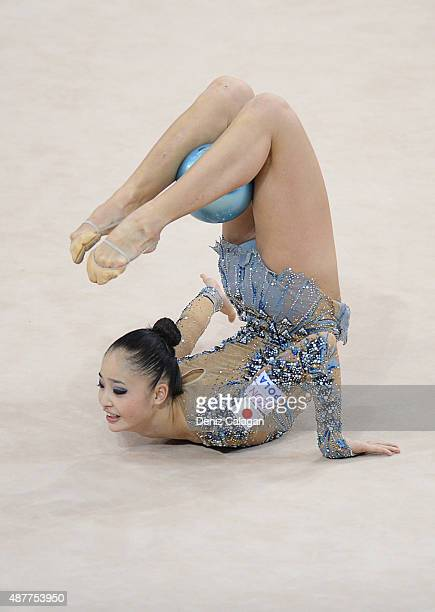 Kaho Minagawa of Japan competes with ball during the 34th Rhythmic Gymnastics World Championships 2015 on September 11 2015 in Stuttgart Germany