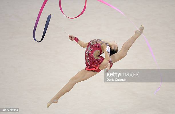 Kaho Minagawa of Japan competes with ribbon during the 34th Rhythmic Gymnastics World Championships 2015 on September 11 2015 in Stuttgart Germany