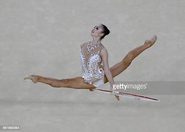 Kaho Minagawa of Japan performs her routine during the Rhythmic Gymnastics Individual AllAround on August 19 2016 at Rio Olympic Arena in Rio de...