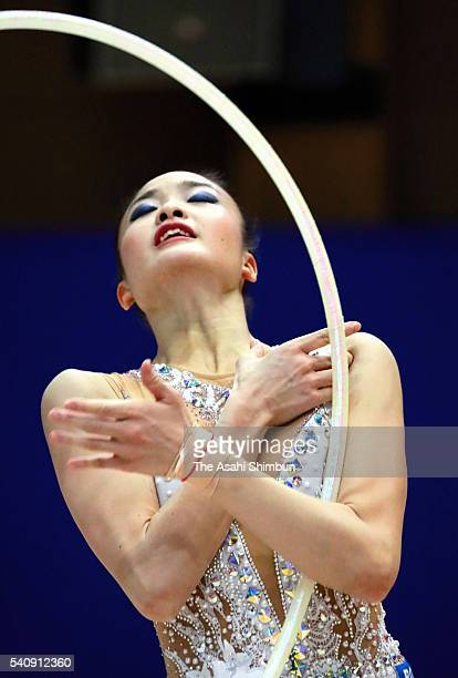 Kaho Minagawa performs during the Japan Rhythmic Gymnastic Team Media Access at the National Training Center on June 15 2016 in Tokyo Japan