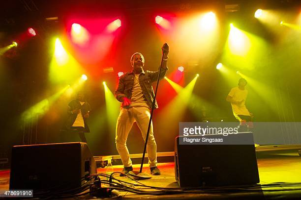 Kahouly Nicolay of Nico and Vinz performs onstage during the second day of the Bravalla Festival on June 26, 2015 in Norrkoping, Sweden.