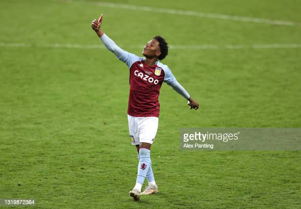 Kahrel Reddin of Aston Villa talks on a video call as he celebrates victory during the FA Youth Cup Final between Aston Villa U18 and Liverpool U18...
