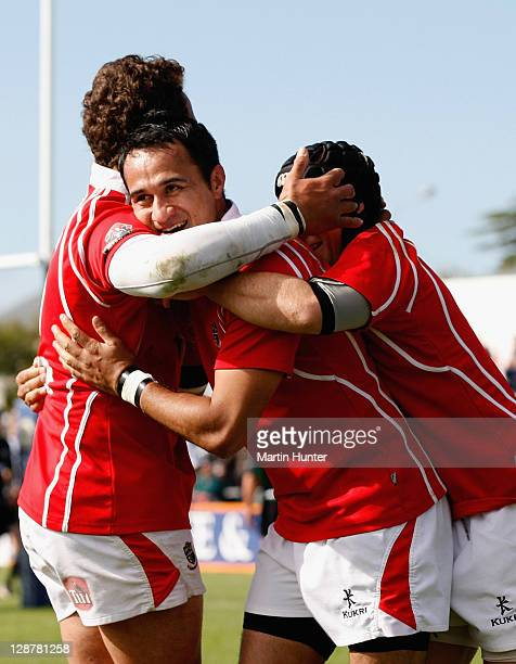 Kahu Tamatea of Poverty Bay celebrates with team mates during the Lochore Cup Final match between South Canterbury and Poverty Bay at Alpine Energy...