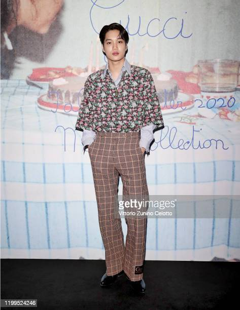 Kai arrives at the Gucci show during Milan Menswear Fashion Week Fall/Winter 2020/21 on January 14 2020 in Milan Italy