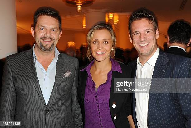 Kai Blasberg Sandra Maria Meier and Klaus Gronewald attend the Audi Inspiration 'Das Leben ist ein Seiltanz' at Charles hotel on November 3 2011 in...