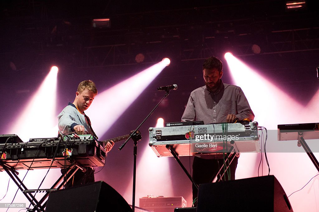 Kai Campo and Dominic Maker of Mount Kimbie perform on stage on Day 4 of Open'er Festival 2013 on July 6, 2013 in Gdynia, Poland.