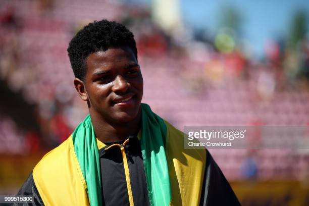 Kai Chang of Jamaica celebrates winning gold in the final of the men's discus on day six of The IAAF World U20 Championships on July 15 2018 in...