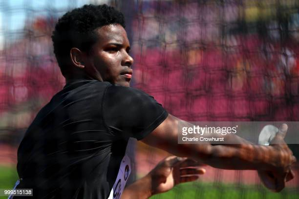 Kai Chang of Jamaica in action during the final of the men's discus on day six of The IAAF World U20 Championships on July 15 2018 in Tampere Finland