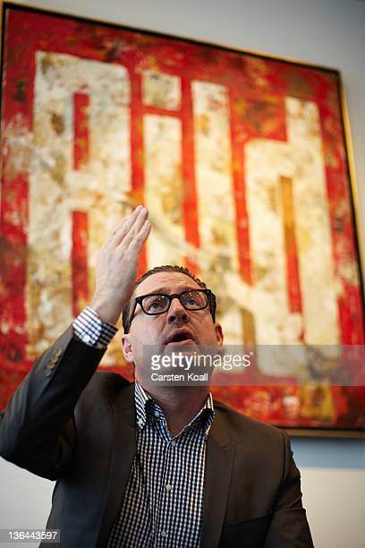 Kai Diekmann EditorinChief of the German tabloid Bild gestures during an interview in his office at newspaper Bild on December 2 2010 in Berlin...