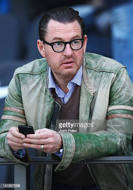 Kai Diekmann EditorinChief of the German tabloid Bild is seen on the tribune prior to the Bundesliga match between Hertha BSC Berlin and FC Bayern...