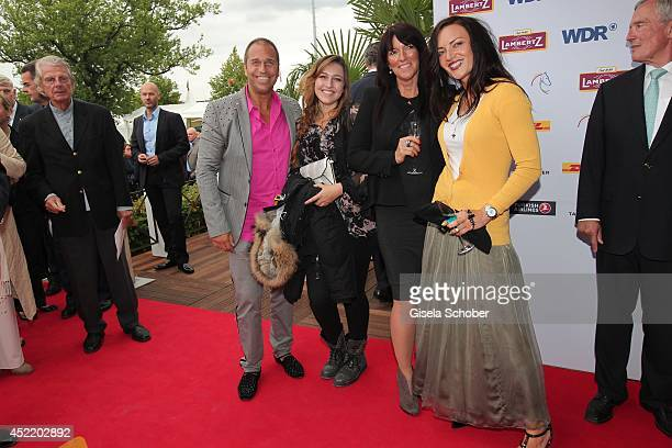 Kai Ebel daughter Robin Exwife Natascha and his wife Mila Wiegand attend the CHIO 2014 media night on July 15 2014 in Aachen Germany