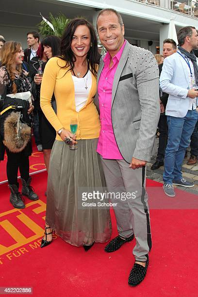 Kai Ebel with his wife Mila Wiegand attend the CHIO 2014 media night on July 15 2014 in Aachen Germany