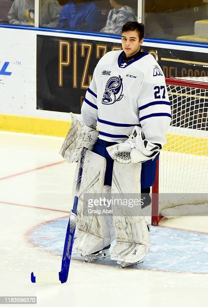 Kai Edmonds of the Mississauga Steelheads skates against the Oshawa Generals on October 25, 2019 at Paramount Fine Foods Centre in Mississauga,...