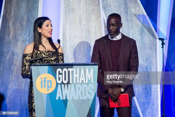Kai Falkenberg and Michael K Williams onstage during IFP's 27th Annual Gotham Independent Film Awards at Cipriani Wall Street on November 27 2017 in...