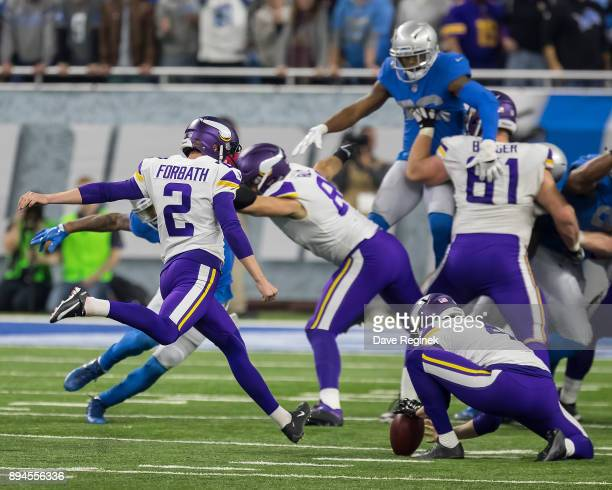 Kai Forbath of the Minnesota Vikings attempts a field goal against the Detroit Lions during an NFL game at Ford Field on November 23 2016 in Detroit...
