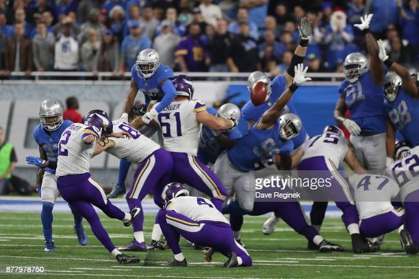 Kai Forbath of the Minnesota Vikings kicks a second half field goal against the Detroit Lions during an NFL game at Ford Field on November 23 2016 in...