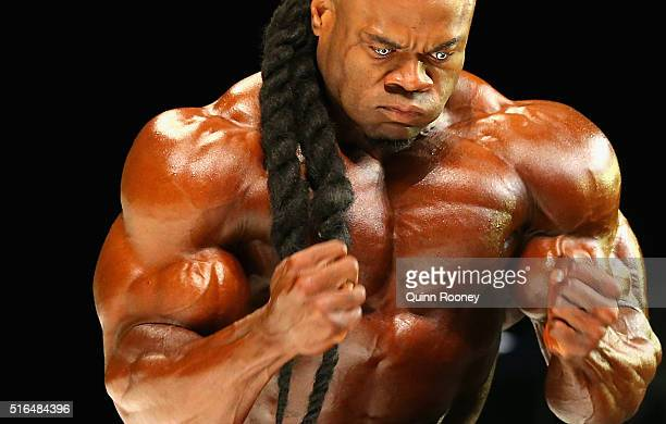 Kai Greene of the United States performs in the Arnold Classic Mens Bodybuilding Open during the