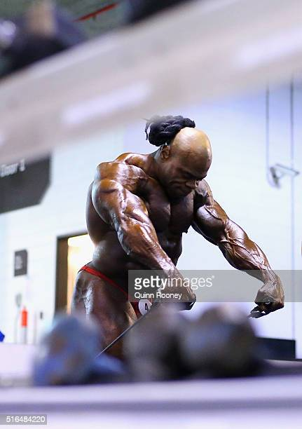 Kai Greene of the United States warms up back stage before the Arnold Classic Mens Bodybuilding Open during the 2016 Arnold Classic on March 19 2016...