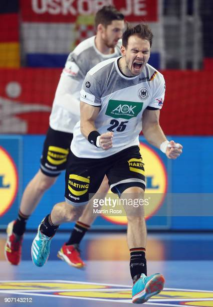 Kai Haefner of Germany celebrates a goal during the Men's Handball European Championship main round group 2 match between Germany and Czech Republic...