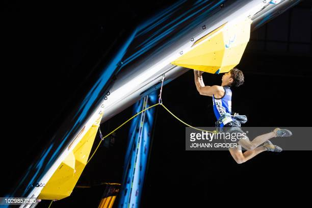 Kai Harada of Japan competes during the SemiFinals of the Men Lead competition at the IFSC Climbing World Championships in Innsbruck Austria on...