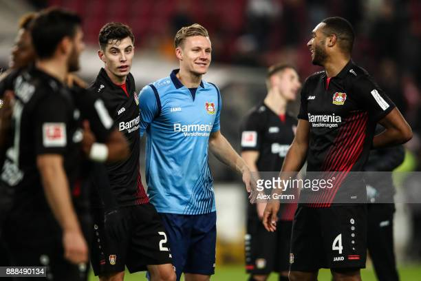 Kai Havertz of Bayer Leverkusen Bernd Leno and Jonathan Tah celebrate after winning the Bundesliga match between VfB Stuttgart and Bayer 04...