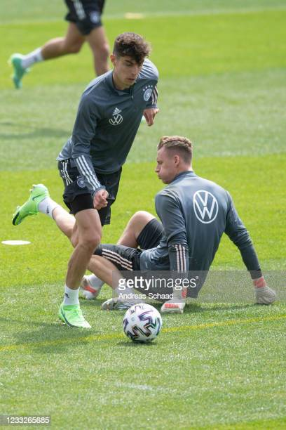 Kai Havertz and goalkeeper Bernd Leno in action during Day 8 of the Germany training camp ahead of the UEFA EURO 2020 on June 04, 2021 in Seefeld in...