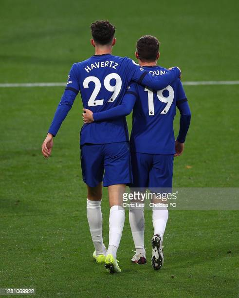 Kai Havertz and Mason Mount of Chelsea celebrate their third goal during the Premier League match between Chelsea and Southampton at Stamford Bridge...