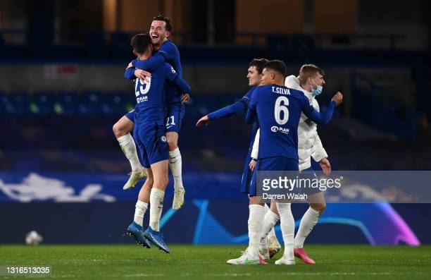 Kai Havertz, Ben Chilwell, Andreas Christensen, Thiago Silva and Timo Werner of Chelsea celebrate following victory during the UEFA Champions League...