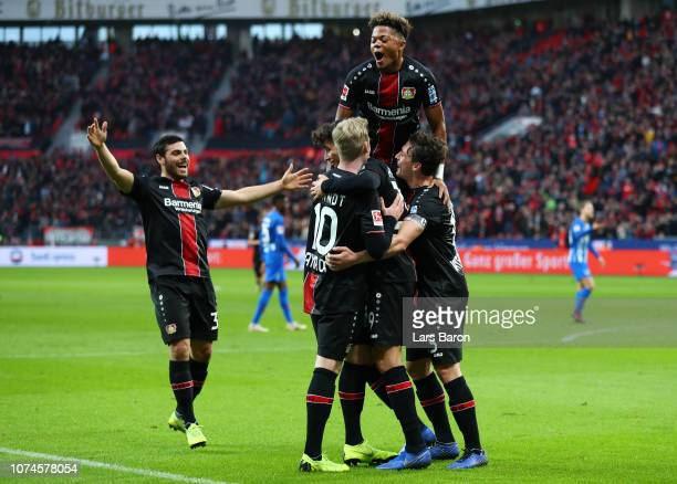 Kai Havertz of Bayer 04 Leverkusen celebrates after scoring his team's second goal with his team mates during the Bundesliga match between Bayer 04...