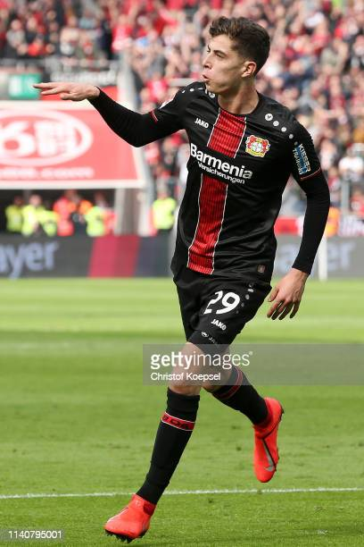 Kai Havertz of Bayer 04 Leverkusen celebrates after scoring his team's second goal during the Bundesliga match between Bayer 04 Leverkusen and RB...