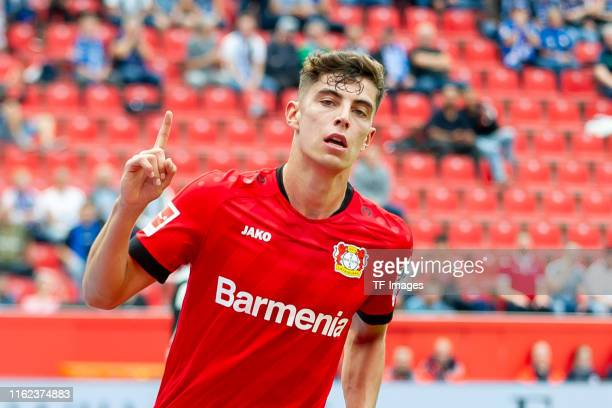 Kai Havertz of Bayer 04 Leverkusen celebrates after scoring his team's second goal during the Bundesliga match between Bayer 04 Leverkusen and SC...