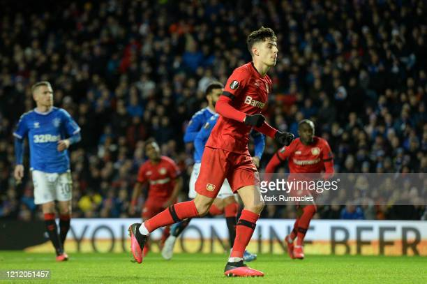 Kai Havertz of Bayer 04 Leverkusen celebrates after scoring his team's first goal during the UEFA Europa League round of 16 first leg match between...
