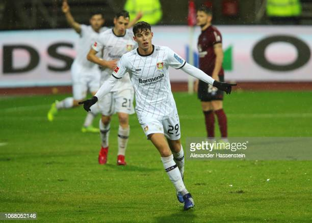 Kai Havertz of Bayer 04 Leverkusen celebrates as he scores his team's first goal during the Bundesliga match between 1 FC Nuernberg and Bayer 04...
