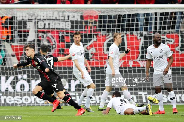 Kai Havertz of Bayer 04 Leverkusen celebrates scoring the opening goal during the Bundesliga match between Bayer 04 Leverkusen and Eintracht...