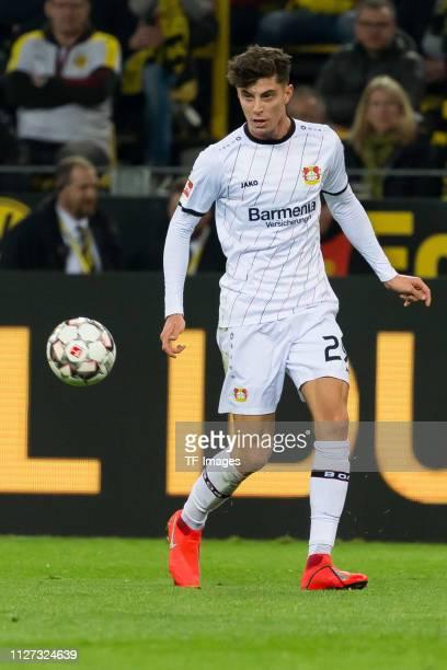 Kai Havertz of Bayer 04 Leverkusen controls the ball during the Bundesliga match between Borussia Dortmund and Bayer 04 Leverkusen at Signal Iduna...