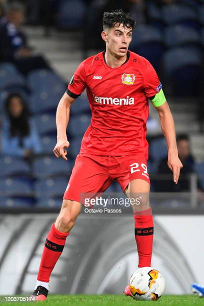 Kai Havertz of Bayer 04 Leverkusen in action during the UEFA Europa League round of 32 second leg match between FC Porto and Bayer 04 Leverkusen at...
