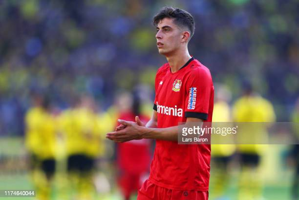 Kai Havertz of Bayer 04 Leverkusen looks dejected in defeat after the Bundesliga match between Borussia Dortmund and Bayer 04 Leverkusen at Signal...