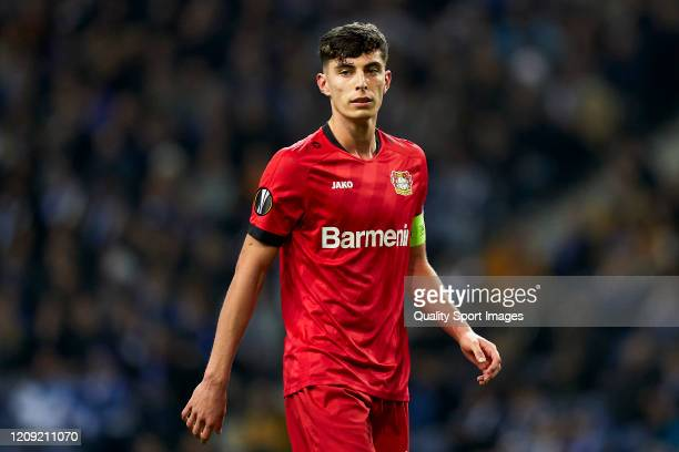 Kai Havertz of Bayer 04 Leverkusen looks on during the UEFA Europa League round of 32 second leg match between FC Porto and Bayer 04 Leverkusen at...