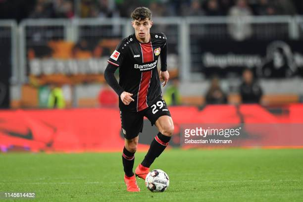 Kai Havertz of Bayer 04 Leverkusen plays the ball during the Bundesliga match between FC Augsburg and Bayer 04 Leverkusen at WWKArena on April 26...