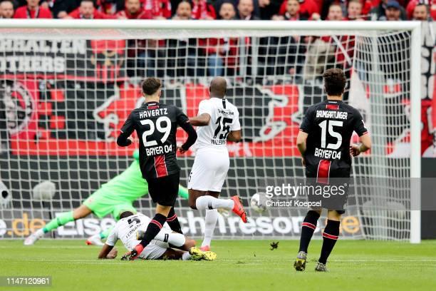 Kai Havertz of Bayer 04 Leverkusen scores the opening goal during the Bundesliga match between Bayer 04 Leverkusen and Eintracht Frankfurt at...
