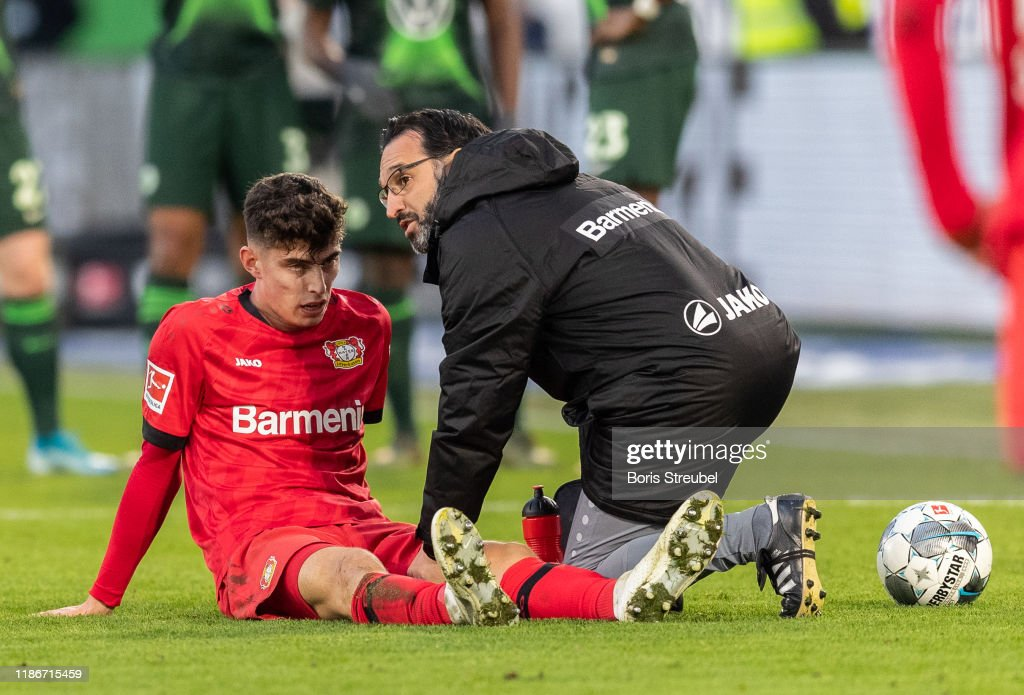 Kai Havertz of Bayer 04 Leverkusen takes an injury during the ...