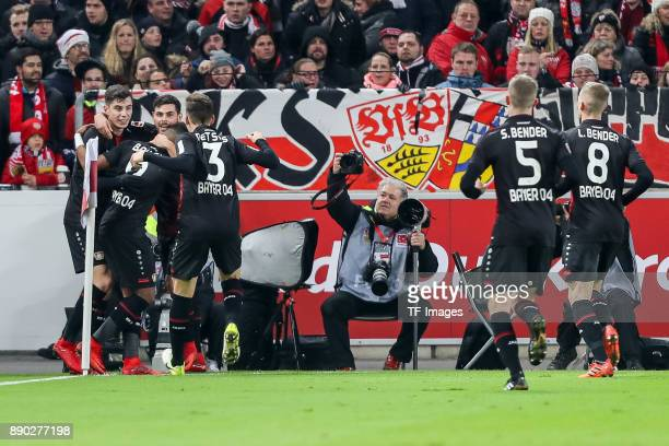 Kai Havertz of Bayer Leverkusen celebrates after scoring his team`s first goal with team mates during the Bundesliga match between VfB Stuttgart and...