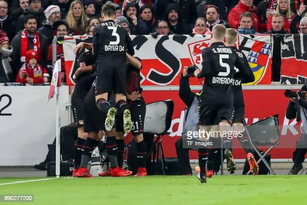 Kai Havertz of Bayer Leverkusen celebrates after scoring his team`s first goal with team mates during the Bundesliga match between VfB Stuttgart and...
