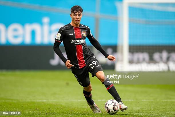 Kai Havertz of Bayer Leverkusen controls the ball during the Bundesliga match between Bayer 04 Leverkusen and 1 FSV Mainz 05 at BayArena on September...