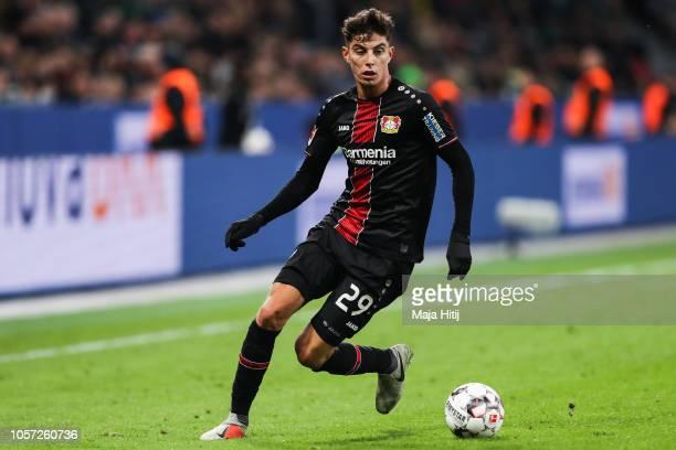 Kai Havertz of Bayer Leverkusen controls the ball during the Bundesliga match between Bayer 04 Leverkusen and TSG 1899 Hoffenheim at BayArena on...